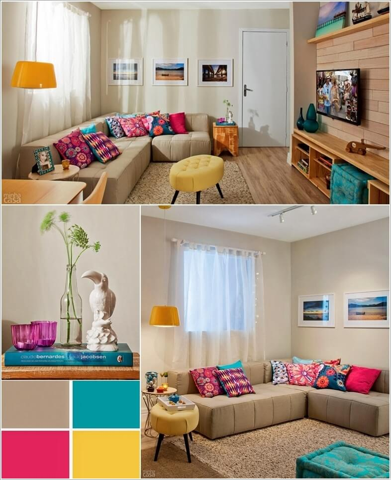 Accented Neutral Color Scheme Bedroom: Spread Colors And Life In Your Neutral Living Room