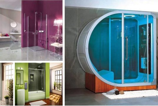Unique Bathroom Cabinets - Frame-less Glass Shower Door Cabinet Design Ideas